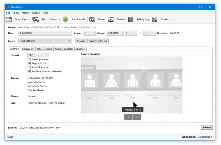 HandBrake user interface