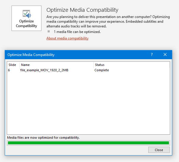 PowerPoint optimize media compatibility