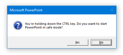 PowerPoint safe mode